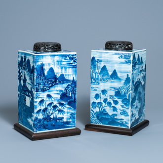 A pair of Chinese blue and white square 'landscape' jars, 19th C.