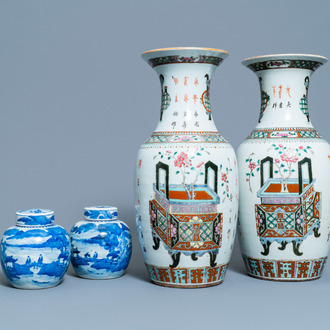 A pair of Chinese blue and white covered jars and a pair of famille rose vases, 19th C.