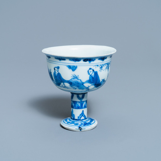 A Chinese blue and white 'go-players' stem cup, Transitional period