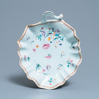 A large Chinese leaf-shaped famille rose tray, Qianlong