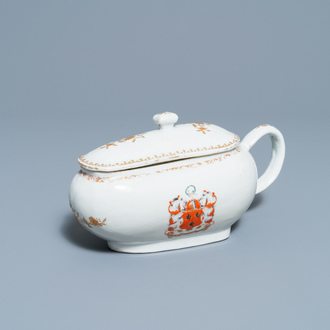 A Chinese Scottish market Ross of Balnagowan armorial sauceboat and cover, Qianlong
