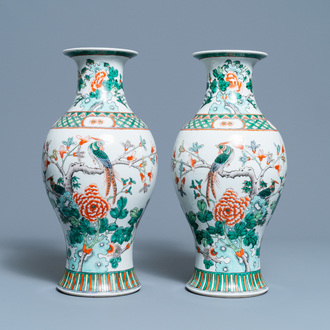 A pair of Chinese famille verte vases with birds among blossoming branches, Republic