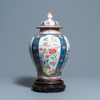 A Chinese famille rose vase and cover, Yongzheng