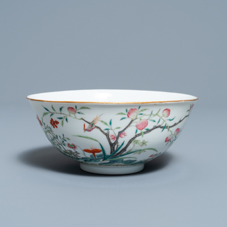 A Chinese famille rose 'peach blossom' bowl, Guangxu mark and of the period