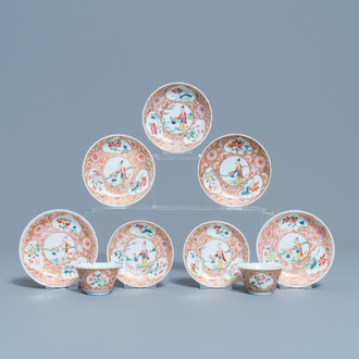 Two Chinese famille rose cups and seven saucers, Yongzheng