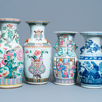Three Chinese famille rose vases and one in blue and white, 19th C.