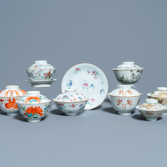 Eight Chinese famille rose and iron-red covered bowls with two stands, 19th C.