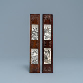 A pair of Chinese inlaid wooden wrist rests, 19/20th C.