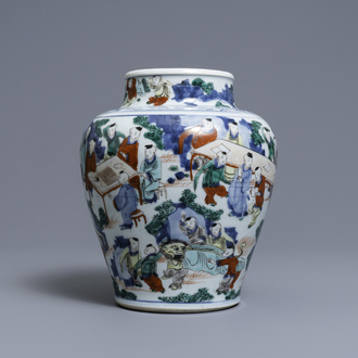 A Chinese wucai '100 boys' vase, Transitional period