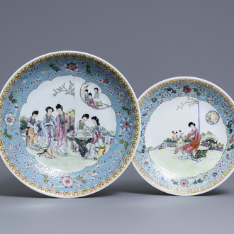 Two Chinese famille rose dishes with ladies in a garden, Qianlong mark, Republic