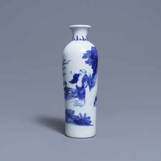 A Chinese blue and white rouleau vase with a figure in a landscape, Transitional period