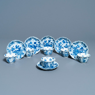 Six Chinese blue and white cups and saucers, Kangxi