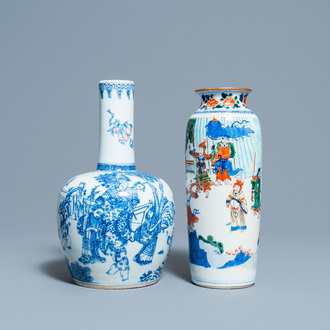 A Chinese wucai rouleau vase and blue, white and copper-red vase, 19/20th C.