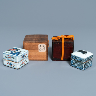 Two Chinese square ko-sometsuke blue and white and wucai covered boxes for the Japanese market, Transitional period