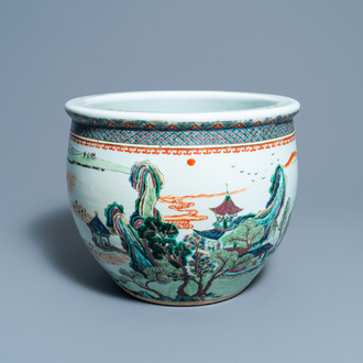 A Chinese famille verte fishbowl, 19th C.