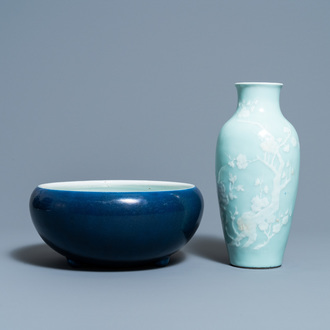 A Chinese monochrome blue censer and a white slip-decorated celadon vase, 18/19th C.