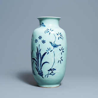 A Chinese blue and white celadon-ground vase, Qianlong