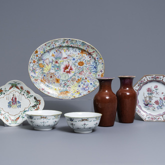 A varied collection of Chinese famille rose and monochrome wares, Qianlong and later