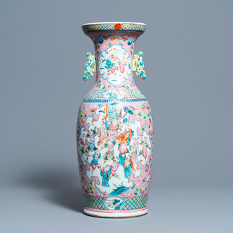 A Chinese pink-ground famille rose vase, 19th C.