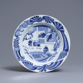 A Chinese blue and white 'tea cultivation' dish, Qianlong