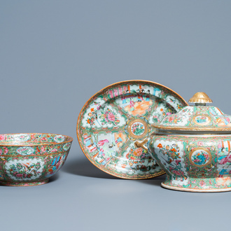 A Chinese Canton famille rose bowl and a tureen on stand, 19th C