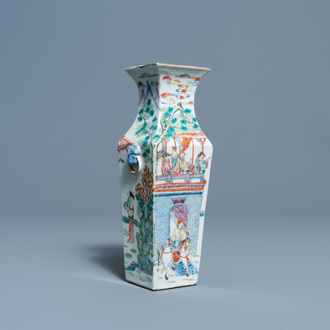 A Chinese square famille rose vase, 19th C.