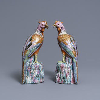 A pair of Chinese famille rose models of pheasants, Qianlong