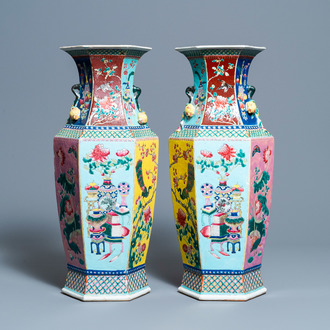 A pair of Chinese hexagonal famille rose vases, 19th C.