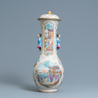 A Chinese famille rose 'Mandarin' vase and cover, Qianlong