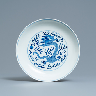 A Chinese blue and white 'dragon' dish, Tongzhi mark and of the period