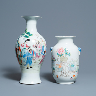 A Chinese qianjiang cai vase and a famille rose vase, 19/20th C.