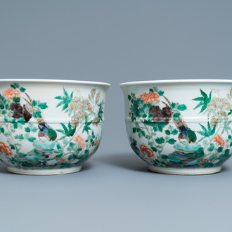 A pair of Chinese famille verte jardinières, 19th C.