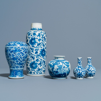 Five Chinese blue and white vases, Kangxi and later
