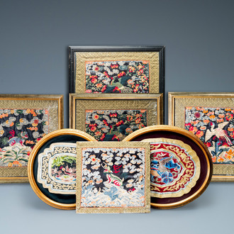 Seven Chinese embroidered silk rank badges, 19/20th C.