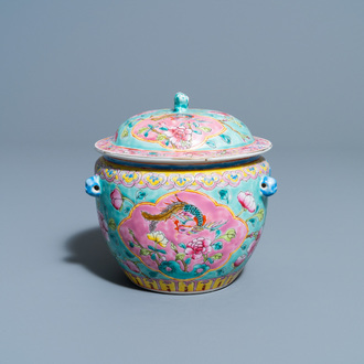 A Chinese famille rose Straits or Peranakan market kamcheng and cover, 19th C