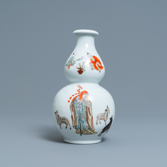 A Chinese polychrome double gourd vase with a goat shepherd, Qianlong mark, Republic