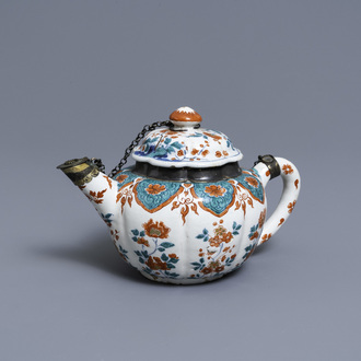 A polychrome petit feu and gilded Dutch Delft teapot and cover, early 18th C.