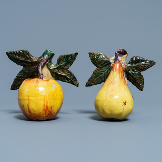A polychrome Dutch Delft model of an apple and one of a pear, 18th C.