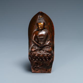 A gilt-lacquered hammered copper 'Buddha' plaque, Mongolia, 18th C.
