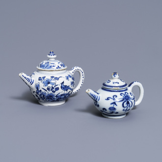 Two Dutch Delft blue and white teapots and covers, 18th C.
