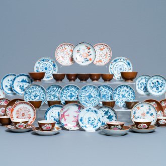 31 Chinese capucine brown-ground saucers and 22 cups, Kangxi/Qianlong