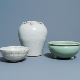 A Chinese Swatow jar, a bowl and a celadon-glazed censer, Ming and later