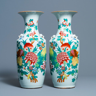 A pair of Chinese famille rose vases with fruits and flowers, 19/20th C.