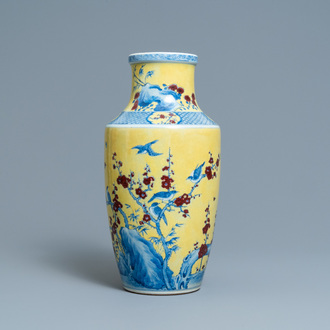 A Chinese blue, white and red yellow-ground vase, 18/19th C.