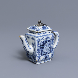 A rare Dutch Delft blue and white relief-moulded teapot and cover, late 17th C.