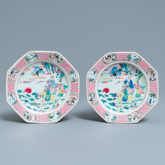 A pair of Chinese octagonal famille rose 'immortals' plates, Yongzheng