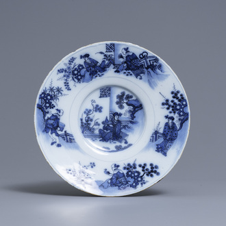 A Dutch Delft blue and white chinoiserie dish, late 17th C.