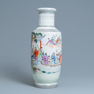 A Chinese famille rose rouleau vase with figures in a garden, Republic