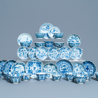 18 Chinese blue and white saucers and 17 cups, Kangxi and later