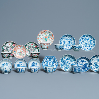 Thirteen Chinese blue and white, famille rose and famille verte cups and saucers, Kangxi/Qianlong